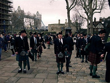 A picture of Scottish guards assembeling to parade