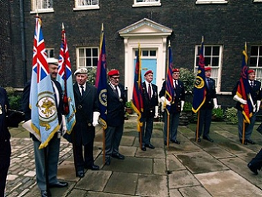 A picture of the standards with their bearers
