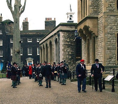 A picture of Scottish Guards preparing to march