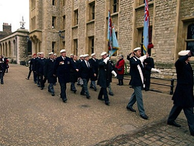 A picture of standard bearers marching past