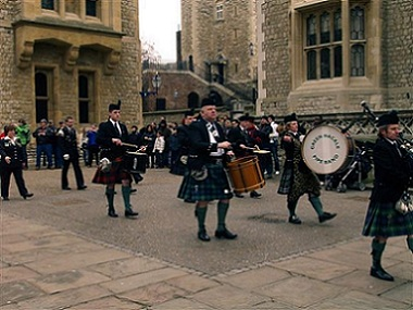 A picture of the Scottish Guard marching band